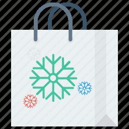 bag, christmas, gift, handles, reusable, shop icon