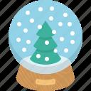 christmas, globe, snow, toy, tree icon