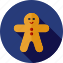 christmas, gingerbread, man icon