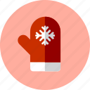 christmas, mitten, snow icon