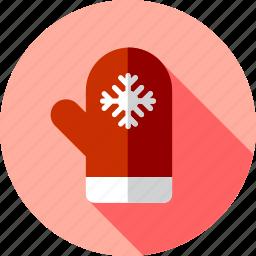 christmas, mitten, snow icon