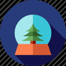 christmas, globe, pine, snow, tree icon