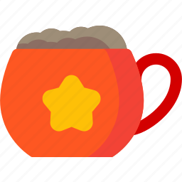 beverage, chocolate, coffee, cup, drink, food, star icon
