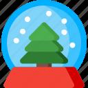globe, snow, christmas, snowflake, tree, winter