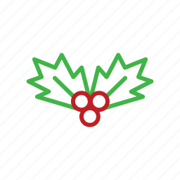 christmas, decor, decoration, mistletoe, stroke icon