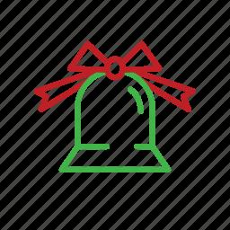 bell, christmas, decoration, ribbon, stroke, xmas icon