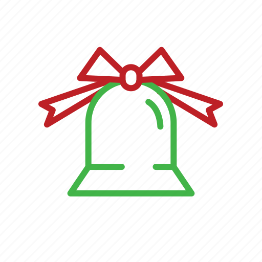 bell, christmas, decoration, ribbon, stroke icon