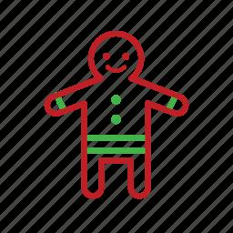 bake, christmas, cookie, food, gingerbread, stroke icon
