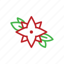 christmas, decor, flower, poinsettia, stroke icon