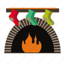 christmas, fireplace, gift, socks, stocking icon