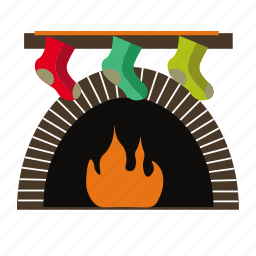 christmas, fireplace, gift, socks, stocking icon
