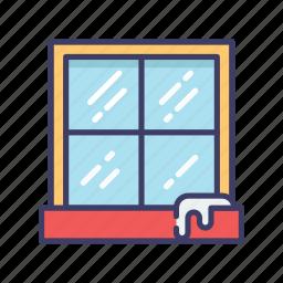 christmas, snow, window, winter icon