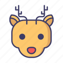 christmas, reindeer, rudolph icon