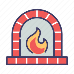 christmas, fireplace, winter icon