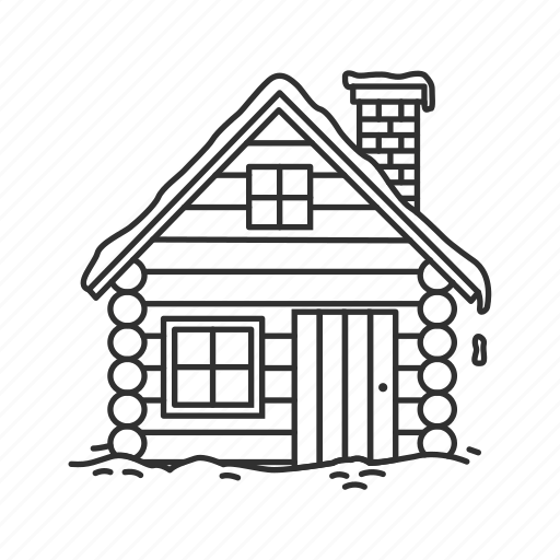 chimney, christmas, cold, house, house with snow, log home, winter icon