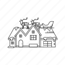 christmas, gifts, house, presents, santa claus, santa on house, sleigh icon