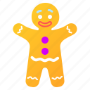 character, gingerbread, gingerbread man, man icon