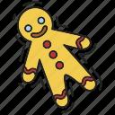 christmas, gingerbread man, sweet, xmas icon
