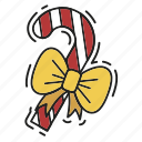bow, candy cane, christmas, gift, present, xmas icon
