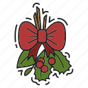 bow, christmas, decoration, kissing bough, xmas icon