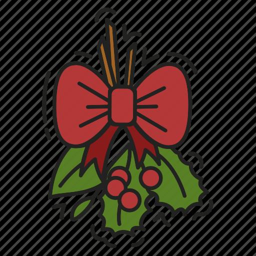 bow, christmas, decoration, kissing bough, xmas icon