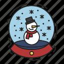 christmas, gift, present, snow globe, snowfall, snowman, xmas icon