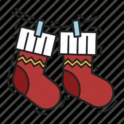 christmas, christmas sock, gift, gifts, presents, sock, xmas icon