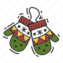 christmas, gift, mittens, present, xmas icon