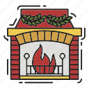 celebration, christmas, decoration, fire, fireplace, xmas icon