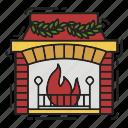 celebration, christmas, decoration, fire, fireplace, xmas