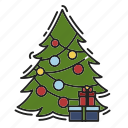 celebration, christmas, christmas tree, gift, present, xmas icon