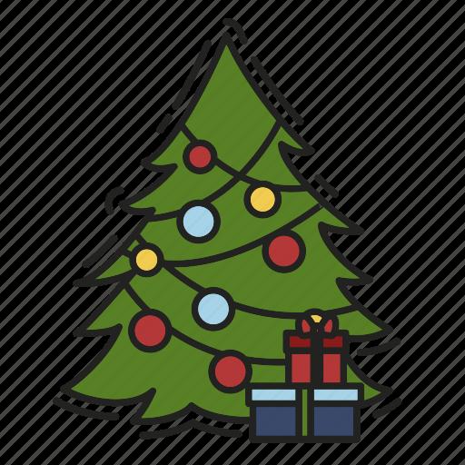 celebration, christmas, christmas tree, gift, present, xmas icon