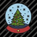 christmas, christmas tree, gift, present, snow globe, snowfall, xmas icon