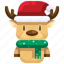 animal, christmas, deer, mammal, reindeer, winter icon