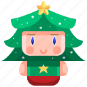 avatar, boy, christmas, costume, tree, xmas icon