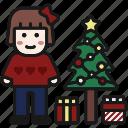 christmas, christmas tree, decoration, eve, gift box, winter, xmas