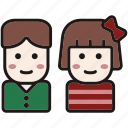avatars, christmas, girl and boy, kid, people, user, winter icon