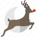 fly, moon, reindeer2, rudolf, sky icon