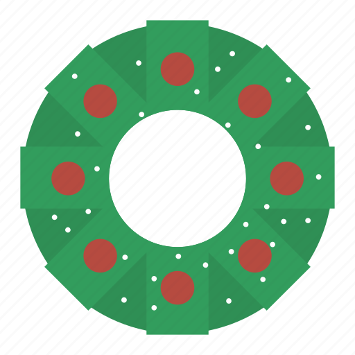 christmas, decor, green, ornament, wreath icon