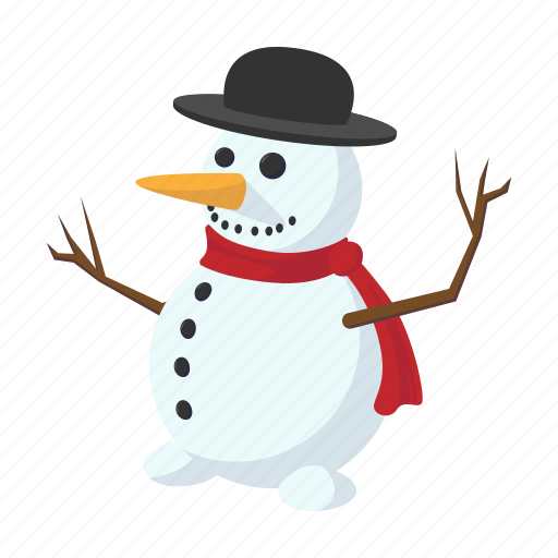 cartoon, celebration, cold, cute, hat, holiday, snowman icon