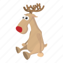 animal, brown, cartoon, deer, doe, horns, mammal icon