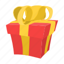 bow, box, cartoon, gift, paper, present, ribbon icon