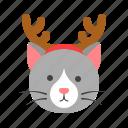 animal, cat, christmas, horn, pet, xmas icon