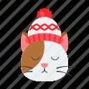 animal, cat, christmas, knit hat, pet, xmas icon
