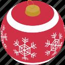 bauble, christmas, decoration, snowflake, celebration, holiday, snow icon