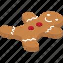 christmas, cookie, gingerbreadman, sweet, winter icon
