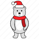 animal, bear, character, christmas, polar bear icon