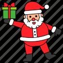 avatar, character, christmas, gift box, santa claus, xmas icon