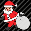 avatar, bag, character, christmas, santa claus, xmas icon