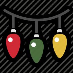 christmas, christmas lights, decoration, holiday, lights icon